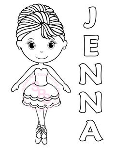 personalized printable ballerina dance birthday party favor childrens kids coloring page activity pdf or jpeg file - Ballerina Coloring Pages Kids