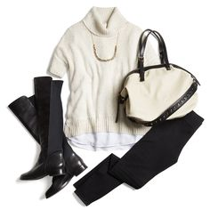 Try a new take on the classic black & white combo this fall with black & cream. Keep your look sleek with a knit poncho, leggings and over-the-knee boots. Can wear top with black pants or pencil skirt to work, or with jeans on the weekend. Fall Winter Outfits, Autumn Winter Fashion, Winter Style, Boating Outfit, Stitch Fix Outfits, Stitch Fix Stylist, Knitted Poncho, The Help, What To Wear