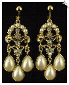 Vintage Style Goldtone Chandelier Clip On Earrings Accented with Faux Pearls & Rhinestones $20 @ www.whimzgirlclipearrings.com