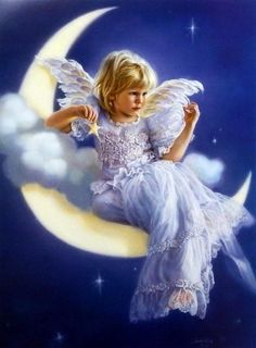 """Little Angel Sitting on the Moon Image Size 17.75"""" x 24"""" Open Edition"""