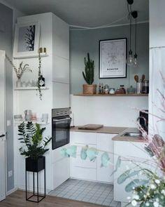 Small Kitchen Set, Kitchen Design Open, Mini Kitchen, Kitchen Layout, Diy Kitchen Decor, Home Decor, Kitchen Ideas, Kitchen Furniture, Wood Furniture