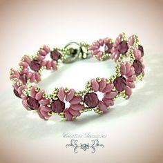 Cascara Pink Beadwork Bracelet with by CreativeTreasuresUK on Etsy, £18.00