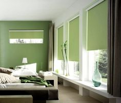 window roller shades/ sage is a very peaceful color!