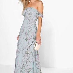 Hp  Foral Off The Shoulder Maxi Dress