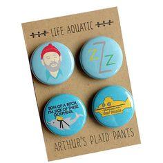 Life aquatic - Steve Zissou - Bill Murray - Wes Anderson badges by Arthur's Plaid Pants ©Arthur's Plaid Pants