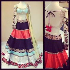 Color block lehenga by MischB Couture Indian Bridal Wear, Indian Wedding Outfits, Indian Wear, Indian Outfits, Western Outfits, Indian Weddings, Desi Clothes, Indian Clothes, Lehenga Designs