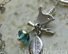 Wren Necklace Leaf and Blue Bead Silver Wren Jewelry Little Bird on Branch March Birthstone Necklace