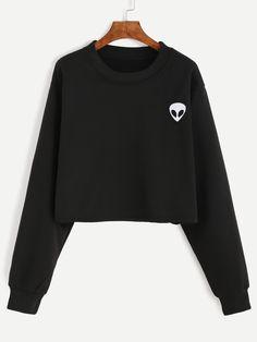#AdoreWe #ROMWE Sweatshirts - Designer ROMWE Black Alien Embroidered Crop Sweatshirt - AdoreWe.com