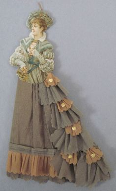 EKDuncan - My Fanciful Muse: Vintage Dresden and Pressed Cardboard Christmas Ornaments - love the cascading bustle here! Victorian Christmas Decorations, Paper Christmas Decorations, Paper Ornaments, Antique Christmas, Vintage Christmas Ornaments, Primitive Christmas, Country Christmas, Outdoor Christmas, Christmas Christmas