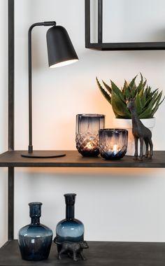 Glass Tea Light Holders, Candle Holders, Desk Lamp, Table Lamp, Floating Shelves, Tea Lights, Berries, Candles, Blue