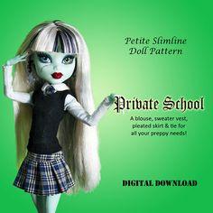 School Uniform doll clothes pattern for Petite Slimline Fashion Doll: Monster, Ever After, Dal, Obitsu 23 & similar