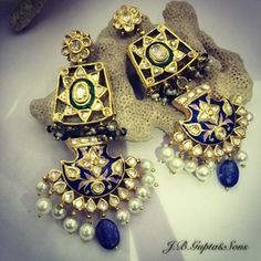 Indian Wedding Jewelry - Polki Kundan Earrings | WedMeGood Beautiful Polki Earrings with Blue and Green Meenakari Work. Like Them? Visit us at wedmegood.com #wedmegood #polki #meenakari
