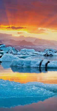 Iceland - Fire and Ice sunset in Jokulsarlon