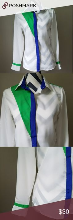 """Asos Colorful Button Down Top EUC white, emerald green and royal blue button down top from Asos. Semi-sheer and long sleeve with green trim at the cuffs. Blue trim down the middle with white contrasting buttons. Green triangular detail on the right shoulder. The back is a color block pattern with green at the shoulderblades and blue under the collar. This top has been freshly dry cleaned. 20"""" underarms, 22.5"""" sleeves and 26"""" top to bottom hem. ASOS Tops Button Down Shirts"""
