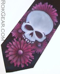 Men's black necktie Skull and daisies  airbrush tie by RokGear airbrushed one at a time