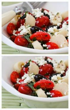 Hearts of Palm Salad Recipe with Tomatoes, Olives, Feta, and Basil Vinaigrette [from Kalyn's Kitchen]