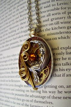 Lady in the Moon Necklace N207  Pendant  Gears by DesignsByFriston, $34.00