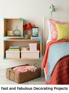 Wooden boxes for bed side shelves