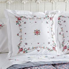 EMMA HEIRLOOM PILLOW SHAM -- Lovingly detailed embroidery on crisp white cotton harkens memories of simpler times. Cotton. Imported. Catalog exclusive.