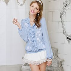 Shirt female long-sleeve 2014 autumn white embroidered ruffle long-sleeve shirt $104.58