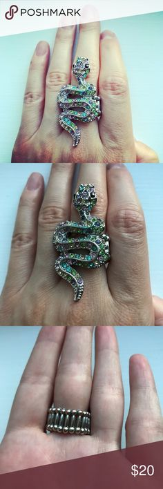 Colorful rhinestone silver tone snake ring Silver tone ring with a slithering snake on it. The band of the ring is stretch and elastic, and meant to be one size fits all. The snake part of the ring is covered in tiny purple, blue, green, yellow, and pink rhinestones, and it measures 2 inches by 1 inch. The snake has black rhinestones for its eyes. A unique piece in excellent condition! Jewelry Rings