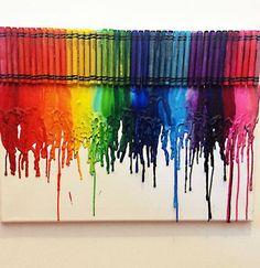 Arte con crayones ♥ ¡Decora tu cuarto con esta manualidad!