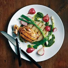 """Grilled Jicama, Radishes, Scallions, and Chicken with Asian-Style """"Chimichurri""""   