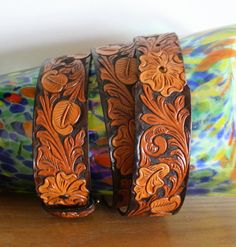 Vintage Hand Tooled Leather belt Whiskey color by TheGreatSociety, $27.00