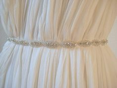 Bridal beaded oval crystal sash. Rhinestone ribbon by IngenueB, $42.00