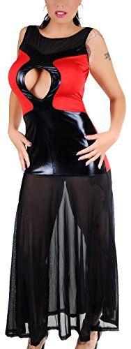 erdbeerloft - Damen Stretch-Mini Kleid mit langem Netzrock, tiefer Rückenausschnitt, 36-42, schwarz rot