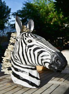 paper mache zebra head Paper Mache Animals, Felt Animals, Paper Glue, Paper Art, Animal Heads On Wall, Paper Mache Projects, Paper Mache Sculpture, Newspaper Crafts, Africa Art