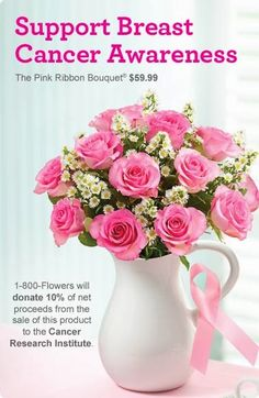 @1-800-FLOWERS Breast Cancer Awareness Month Special - Save 15% on flowers and gifts order.