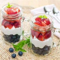 The easiest red, white and blue berries and cream for the 4th of July. With fresh summer berries and coconut cream, it's paleo, gluten-free, and dairy-free.