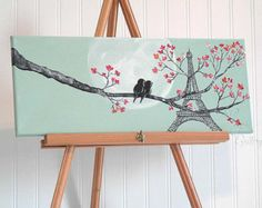 Original Canvas Painting Love Bird Painting Mint and Coral Wedding Gift for Couple Love Birds Art Paris Painting Eiffel Tower Art Painting