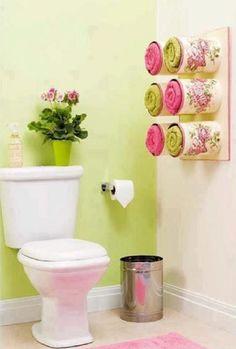Idea de reciclaje para organizar toallas | Ideas para Decoracion
