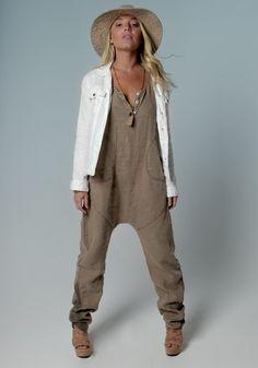 8703 Khaki 100% Linen Drop Crotch Jumpsuit Front 1