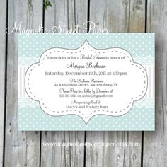 This listing is for the printable file of this beautiful mint polka dot bridal shower invitation. Your file can be printed at home, taken to