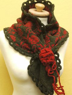 Knitted lambswool scarf or cowl with rambling by LindaAnnBingham