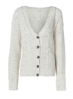 Cream Cable Knit Cardigan With Brown Fleck