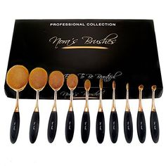 Party Queen New 10Pcs Elite Oval Tooth Design Makeup Brush Set For Applying Cosmetic Products