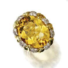 citrine quartz and diamond ring, Verdura