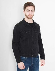 Take the high road with this black denim jacket from Edwin. It has a classic design including a large button placket, single button flap pockets to either side of the chest, waist inlet pockets and dropped shoulder yoke detail. Denim Button Up, Button Up Shirts, Take The High Road, Black Denim, Jackets, Men, Clothes, Spring, Tops