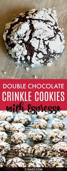 15 minutes · Vegetarian · Serves 26 · Double Chocolate Crinkle Cookies with Espresso, a soft and moist, ooey gooey Christmas cookie that just might be Santa's favorite! Christmas Sweets Recipes, Holiday Snacks, Christmas Cookies, Christmas Ideas, Holiday Recipes, Merry Christmas, Christmas Foods, Winter Recipes, Holiday Fun