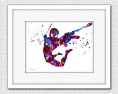 Spiderman print Spiderman watercolor print by FluidDiamondArt