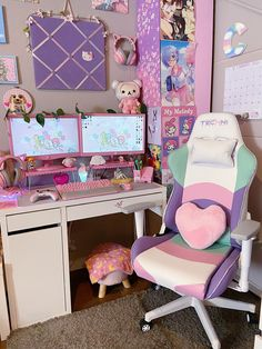 gaming setup Kawaii Colors Inspired TechniFlex Synthetic Upholstery Iridescent Colors Trim Around the Back and Seat Sides Height Adjustable Seat with Tilt Tension Control Seat adjusts fr Gaming Room Setup, Gaming Chair, Gaming Rooms, Pc Setup, Cool Gaming Setups, Gamer Setup, Home Music, Kawaii Bedroom, Video Game Rooms