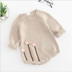 d90522c9e1fe New Born Baby Clothes Autumn Winter Baby Knitted Romper Embroideried Baby  Girl Romper Long Sleeve Baby Rompers Girls Jumpsuit