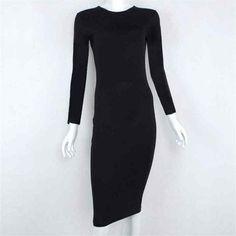 Spring Womens Office Dresses 95% Cotton Solid Skinny Short Sleeve Knee-Length Robe Bandage Dress Feamle