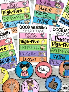 These morning greeting choices will immediately impact your classroom culture! Post these morning greeting signs on your classroom door as teacher or a student greeter warmly welcomes classmates as students choose their morning greeting when entering the room.