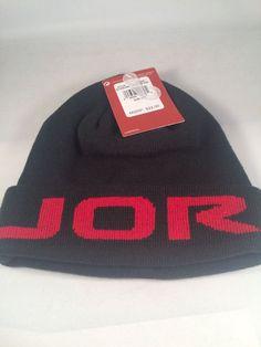 349a1f474cd21 ... sale nike air jordan beanie lid boys kids youth cap hat black red size  8 20