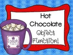 Students can have fun expressing object function with this fun hot chocolate, winter themed activity.  24 cards provided sentence strip included!